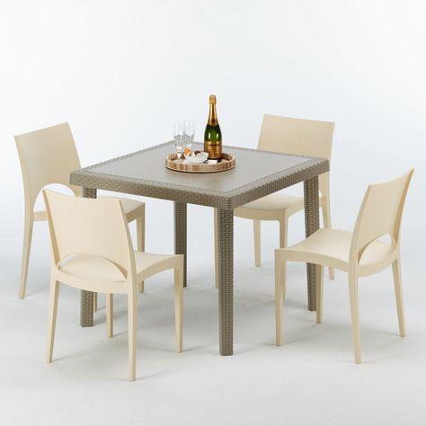 Sedie Esterno Rattan Sintetico.Tavolo Quadrato Con 4 Sedie Rattan Polyrattan 90x90 Beige Elegance