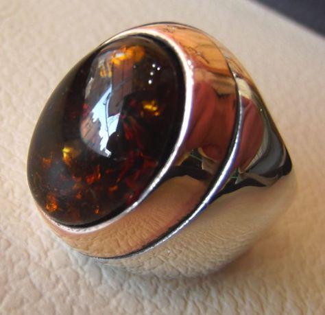 Hecho a mano 925 Sterling Silver Ring Shell motivo con piedra de ónice negro genuino.