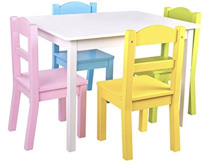 Pidoko Kids Wooden Table And Chairs Set Includes 4 Chairs And 1