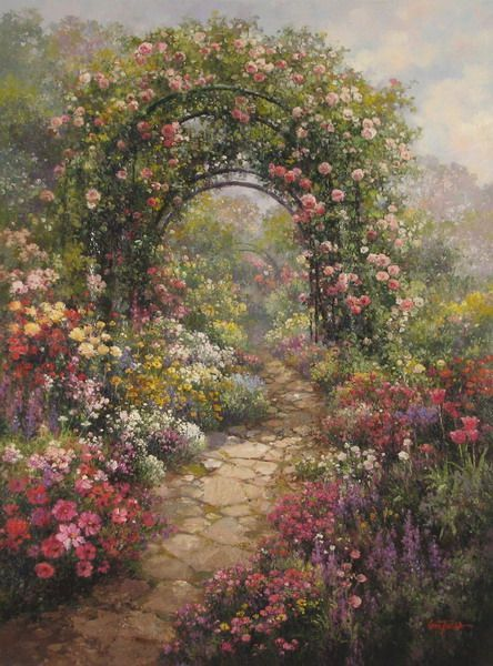 Paul Guy Gantner Garden Painting Landscape Paintings Landscape Art