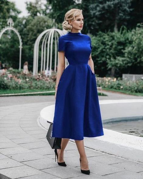 Royal Blue Tea Length Homecoming Dress – Simplepromdress Source by dress