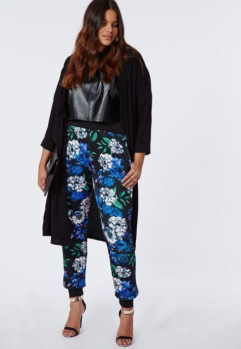 Missguided Plus Size Cuff Hem Trousers Floral Print