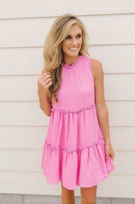 71a0e13dc0951 Shop our Hawaiian Holiday Tiered Dress in Hot Pink. Pair with wedges ...