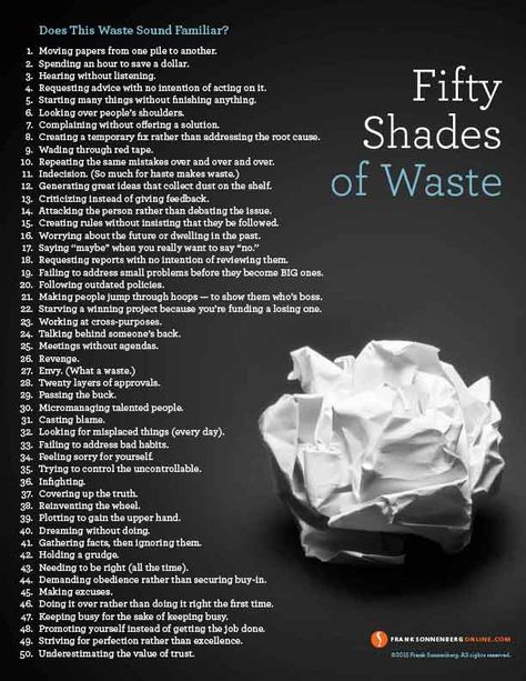 50 Shades of Waste | Values to Live By | www.FrankSonnenbergOnline.com