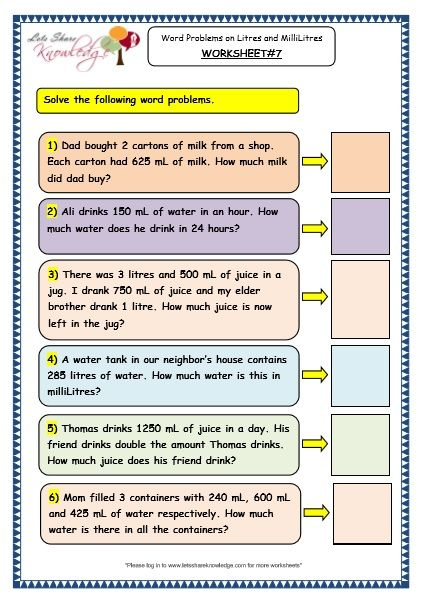 Measurement Of Capacity Word Problems On Litres And Millilitres Worksheet 4th Grade Math Worksheets Math Word Problems 3rd Grade Math Worksheets