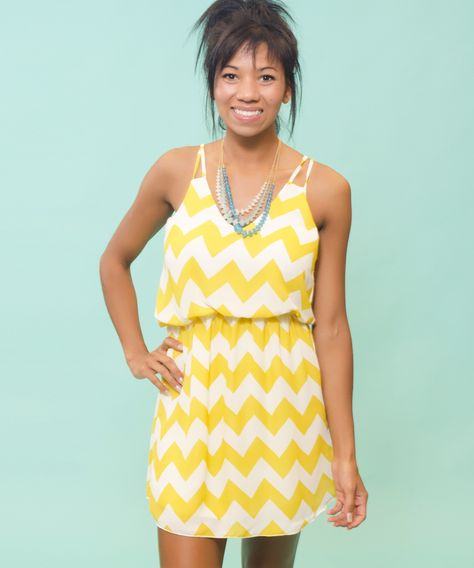 Full Throttle Dress, $47 - AMaVo. Yellow and white chevron striped dress