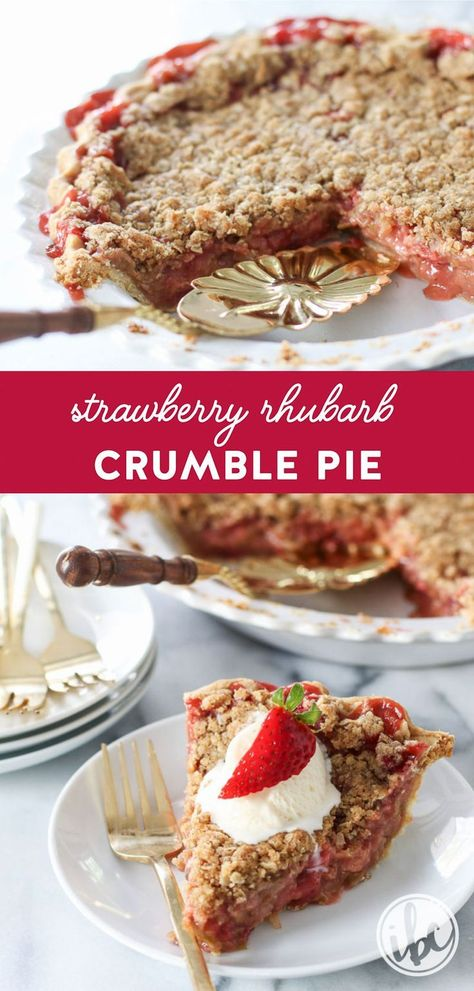 Strawberry Rhubarb Crumble Pie #pie #recipe #dessert #strawberryrhubarb #pie #rhubarb