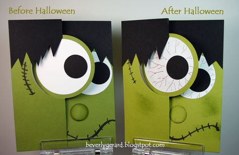 Stampin' Up! ... handmade cards: Halloweeny Before & After! by TexasGrammy ... Frankensteing face using the circle framelits flip card die ... great paper crafting!