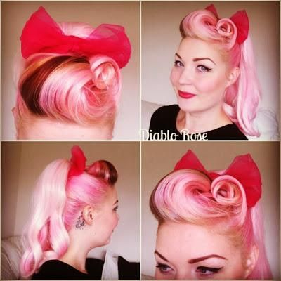 Diablo Rose Pink Hair Victory Rolls Pin Up Rockabilly Lilac Ponytail Hair Inspiration Make Up Le Keu