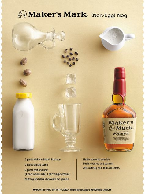Want some nog without the egg? Try this #cocktail #recipe for (Non-Egg) Nog.  #TisTheSeason #Bourbon