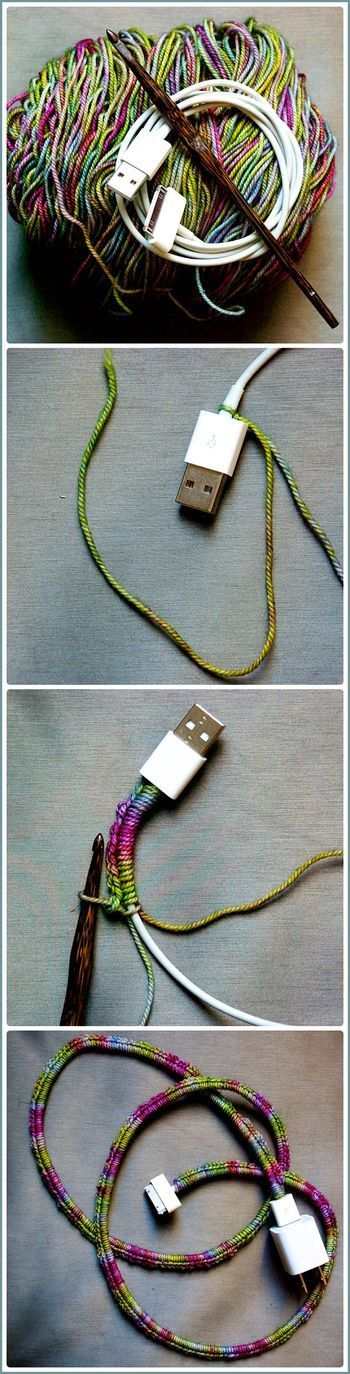 Use yarn to cover your USB cable and never lose track of your phone charge. Pretty too.