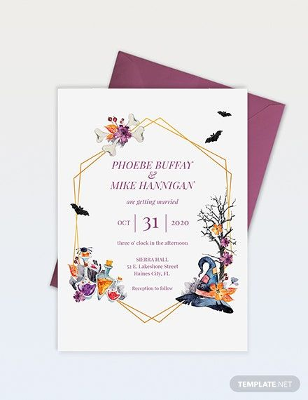 Halloween 2020 Publisher Halloween Wedding Invitation Template   Word (DOC) | PSD | Apple