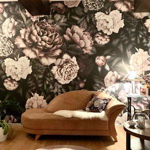 Tapete Fototapete Blumen Rose Aquarell Blatter Flache Muster