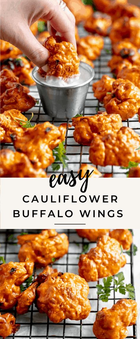 cauliflower recipes Whip up this easy buffalo cauliflower wings recipes for game day or a fun appetizer! Made with a crunchy buttermilk coating and a finger licking good buffalo coating, these vegan buffalo cauliflower wings are to die for! Tasty Vegetarian Recipes, Vegan Dinner Recipes, Vegan Dinners, Veggie Recipes, Healthy Cauliflower Recipes, Crockpot Recipes, Super Healthy Recipes, Turkey Recipes, Vegan Califlower Recipes