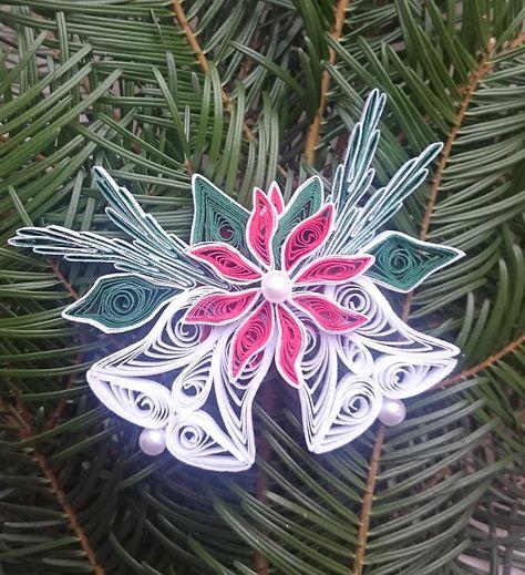 Dekorácie - Zvončeky s vianočnou ružou - 6034415_