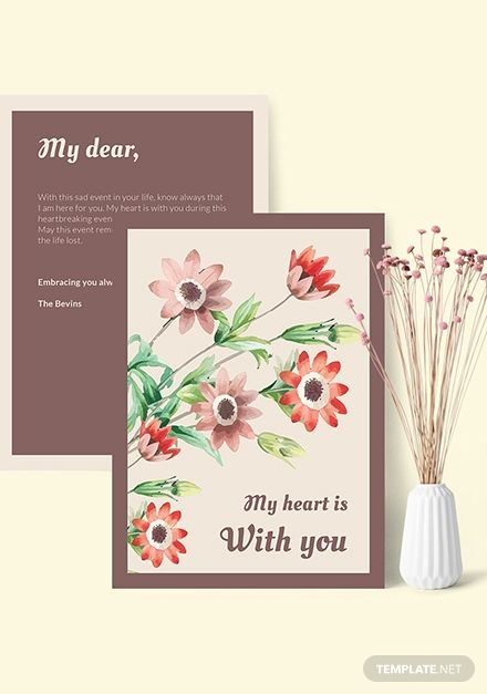 Sympathy Card Template Free Pdf Word Psd Apple Pages Illustrator Publisher Sympathy Cards Card Template Templates Free Design