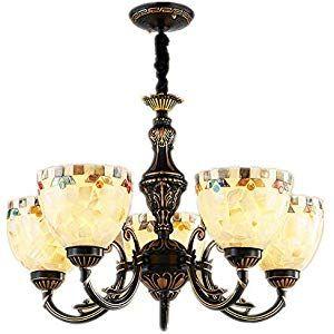 lampadario multi-testa in stile Tiffany vetro colorato retrò ...