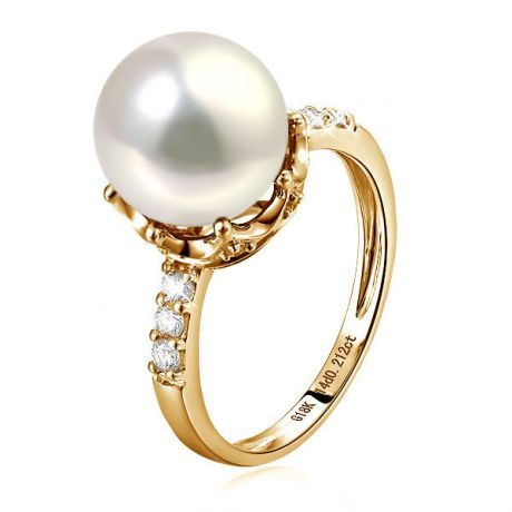 bague or jaune perle de culture blanche