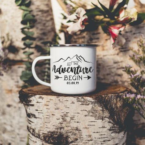 Let The Adventure Begin! This Camping Mug is the perfect gift for an engagement or special occasion, featuring a custom date and mountain design.  Features: -Size: 10 oz. Fluid -8cm tall x 8cm wide -Material: Metal, Cast Iron with Stainless Steel Rim -Care: Not recommended for dishwasher. *DO NOT