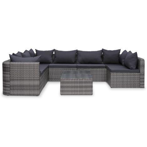 8 Tlg Garten Lounge Set Mit Auflagen Poly Rattan Grau Garten Lounge Set Garten Lounge 3er Sofa