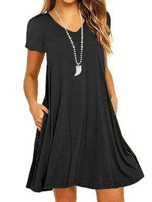 Women Pockets Tunic Mini Dress Summer Casual Sleeveless V Neck Solid Color Shift Plain Beach Short Dresses