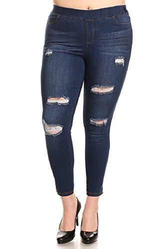 Women/'s Plus Size High Waist Super Stretchy Jeggings Pull-On Skinny Denim Jeans