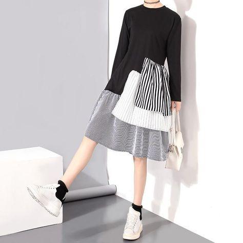 2017 Korean Style Summer Women Vintage Dress Long Sleeve Black Ruffles Patchwork Girls Sweet Midi Cotton Dresses Robe Femme 1557