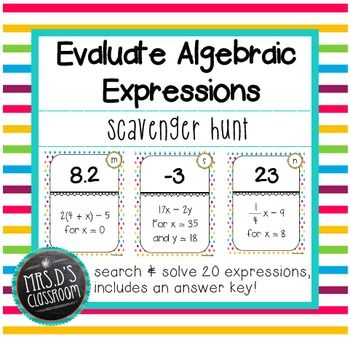 Evaluate Algebraic Expressions Scavenger Hunt Algebraic Expressions Evaluating Algebraic Expressions Math Expressions