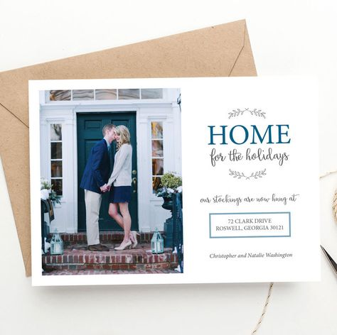 Holiday Photo Christmas Card   Home for the Holidays   Moving Announcement   New Home   FREE SHIPPING   Printed Invitations or DIY by BellaCartaBoutique on Etsy https://www.etsy.com/listing/251009348/holiday-photo-christmas-card-home-for