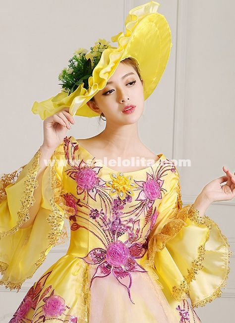 8f79afbbd83c 2016 Yellow Print Women Rococo Masquerade Ball Gown Marie Antoinette Prom  Dress