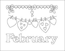February coloring page month with lots of hearts to color in and decorate. This design would make a cute greeting card.
