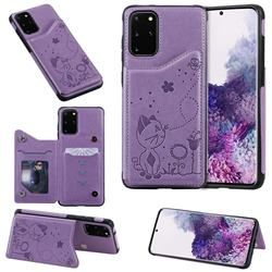Luxury Bee And Cat Multifunction Magnetic Card Slots Stand Leather Back Cover For Samsung Galaxy S20 Plus S11 Purple Galaxy S20 Plus S11 Cases Guuds In 2020