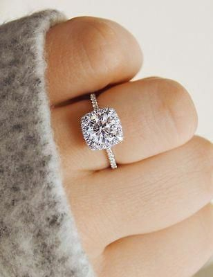 2 25 Ct White Brilliant Diamond Halo Engagement Wedding Ring 14k White Gold Eba Unique Engagement Rings Rose Gold Engagement Ring Wedding Ring 14k White Gold