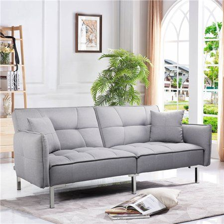 Topeakmart Futon Sofa Bed Adjustable Backrest Sleeper Sofa With Fabric Cover For Living Room Gray Walmart Com In 2020 Modern Sofa Bed Futon Sofa Sofa Bed Dimensions