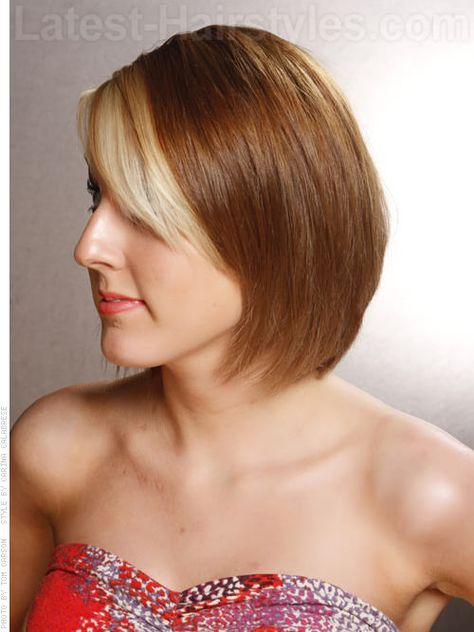 Slice of Light Bob with Highlighted Bangs Side View