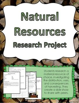 Natural Resources Research Project Research Projects Research Skills Student Presentation