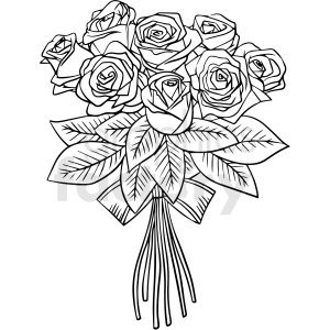 Black And White Rose Bouquet Vector Clipart In 2020 Rose Bouquet White Rose Bouquet White Roses