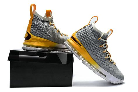 9565a8c266ac New Mens Original Nike LeBron 15 XV EP Basketball Shoes Wolf Grey Lemon  Yellow White
