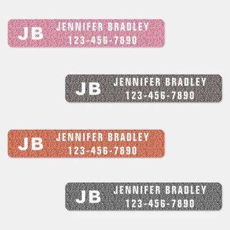 Monogram Custom Personalised Name Girly Glitter Labels | Zazzle.com