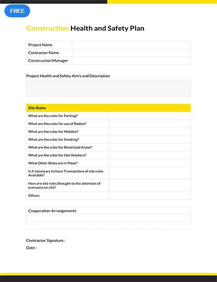 Free Construction Health And Safety Plan Health And Safety How