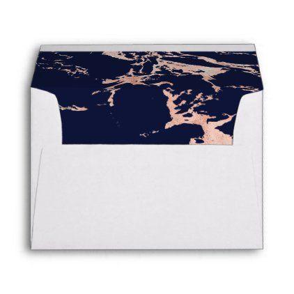 Trendy Rose Gold Foil Navy Blue Marble Style Envelope Zazzle Com In 2020 Rose Gold Foil Blue Marble Custom Printed Envelopes