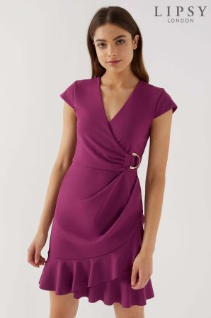 Womens Lipsy Wrap Frill D Ring Dress Purple Dresses Purple Dress Formal Dresses