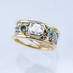 Two-Tone Ring with Asscher-Cut Diamond and Aquamarines