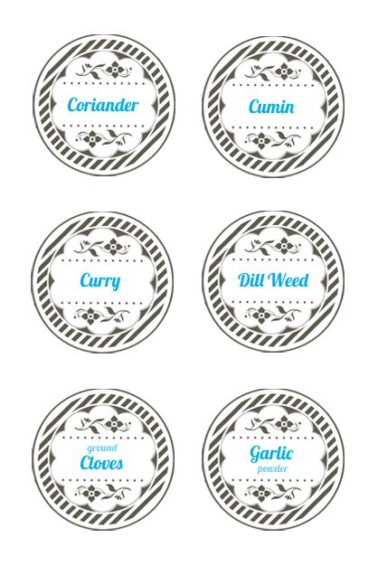 Spice jar lid labels Mason jar label templates Spice Jar Labels - free label templates for word