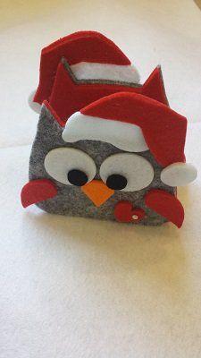 gufo portatovaglioli natalizio in feltro
