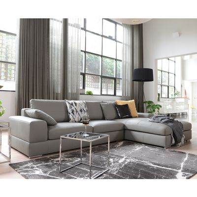 Verona Ii Left Hand Facing Arm Four Seat Chaise End Sofa Leather Light Grey Dwell 1 799 Leather Corner Sofa Living Room Leather Sofa Living Room Grey Leather Sofa Living Room
