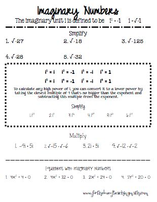Complex Number (Imaginary) Maze ~~ Review Worksheet | complex ...