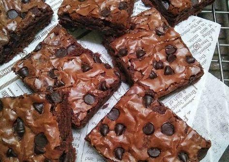 Resep Chewy Brownies Tips Sukses Shiny Crust Oleh Dapurvy Resep Resep Makanan Penutup Makanan Makanan Penutup Coklat