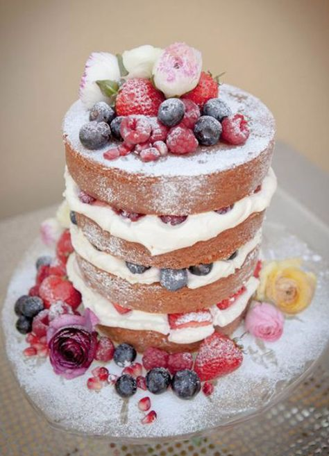 Nueva tendencia en pasteles: Naked Cakes (Pasteles Desnudos) Me flipan!! http://www.unabodaoriginal.es/blog/donde-como-y-cuando/catering/pastel-la-vista