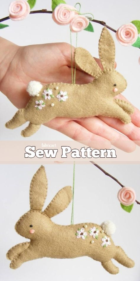 DIY Felt Easter Hopping Bunny Sew Pattern & TutorialYou can find Felt patterns and more on our website. Felt Crafts Diy, Felt Diy, Easter Crafts, Fabric Crafts, Sewing Crafts, Crafts For Kids, Fabric Art, Easter Gift, Sewing Projects